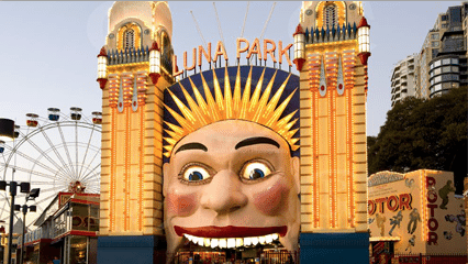 "Luna Park. Martin Sharp helped restore the 1973 version of the ""smiling"" face at the entrance."