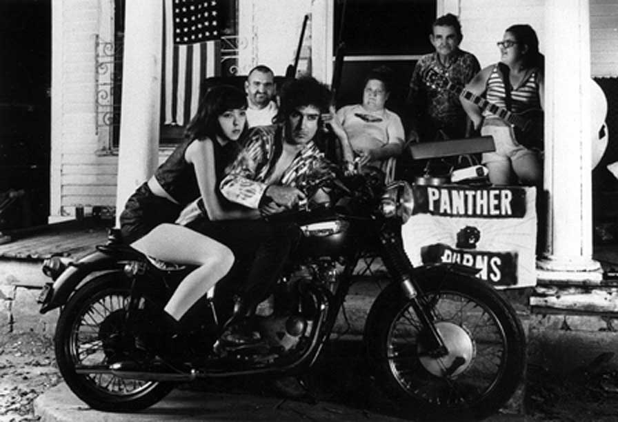 Tav Falco on a motorcycle in Memphis
