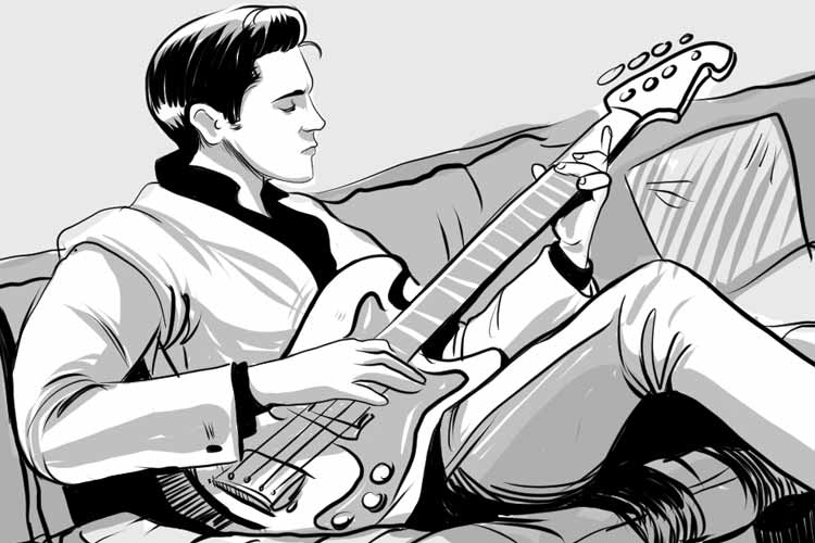 Elvis playing guitar illustration - Art by Ally Cat