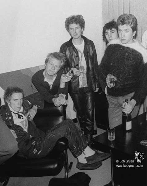 Sex Pistols with Malcolm McLaren - photo © by Bob Gruen