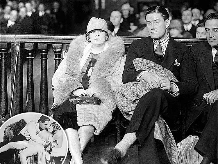 Mae West and co-star Barry O'Neill, from her in the Broadway show Sex, on trial for obscenity at Jefferson Market Courthouse in April 1927.