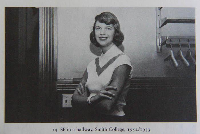Sylvia Plath in a hallway, Smith College, 1952/1953