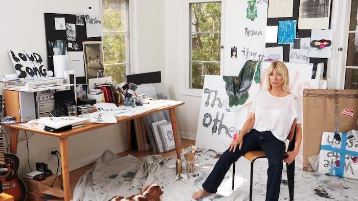 Kim Gordon in her studio.