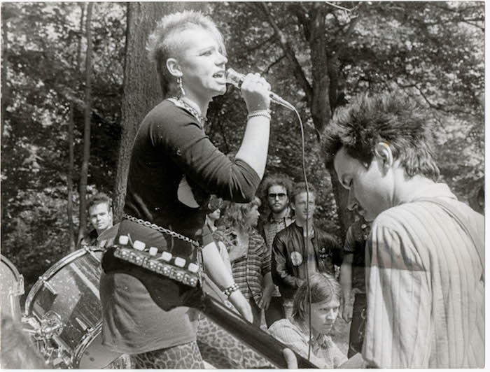 inger Jana Schlosser and guitarist A-Micha of East German punk band Namenlos playing on the grounds of St. Michaelis Church in Karl-Marx-Stadt (now Chemnitz) in 1983. Credit: SUBstitut Archiv (Berlin)