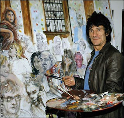 Ron Wood working on a painting.