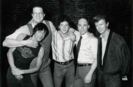 Iggy Pop, Penn Jilette, Steve Forbert, Teller, and David Bowie, 1985 - Photo by Marc Bryan-Brown