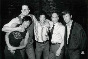 Iggy Pop, Penn Jilette, Steve Forbert, Teller, and David Bowie, 1985 - Photo by Marc Bryan-Brown