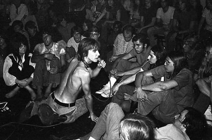 Iggy Pop among his audience at his first gig in New York at Ungano's. By Leee Black Childers