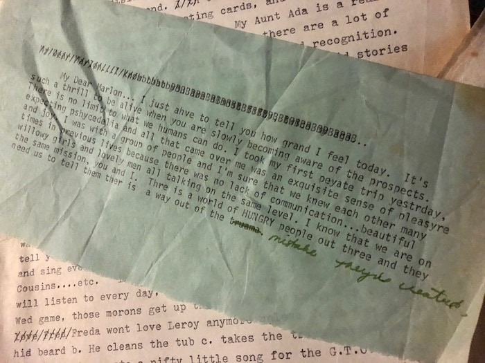 letters Pamela Des Barres wrote to Marlon Brando