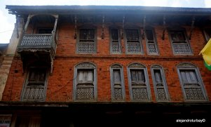 Typical Nepal style of brick and wood frames