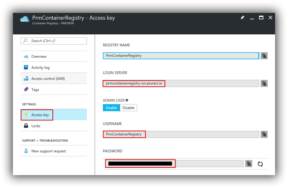 azure-portal-container-registry-access-key-blade