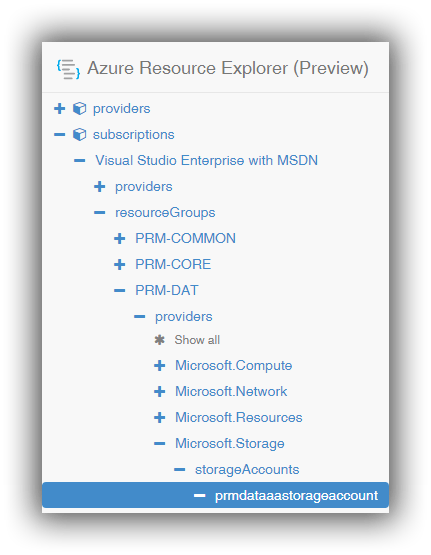 azure-resource-explorer-storage-accounts-prmdataaastorageaccount