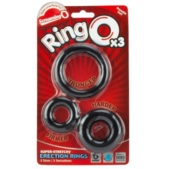 Three different sized RingO cock rings in packaging