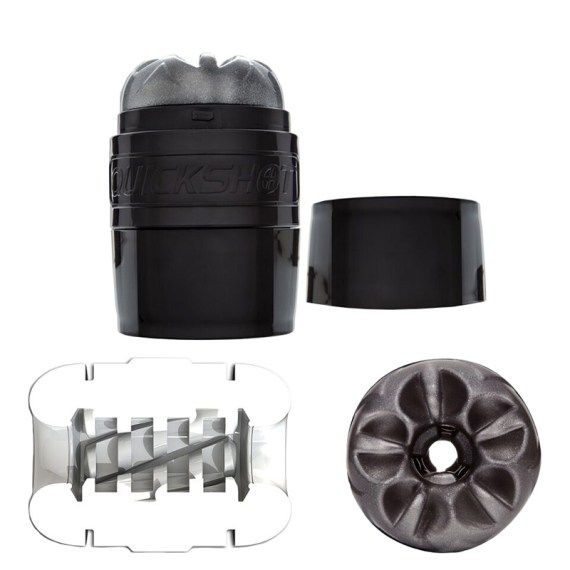 Black Fleshlight Quickshot masturbation sleeve with interior and end view