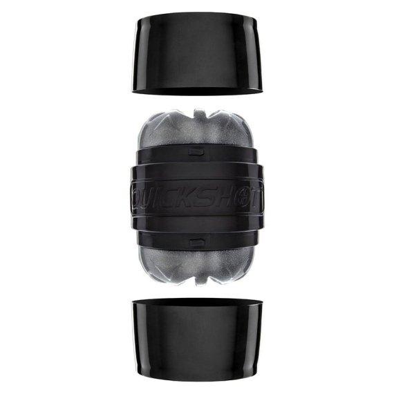 Black Fleshlight Quickshot masturbation sleeve with end caps