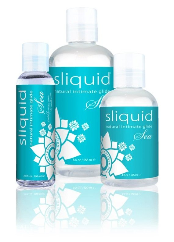 Three bottles of Sliquid Naturals Sea water-based lubricant sized 59, 155 and 255ml