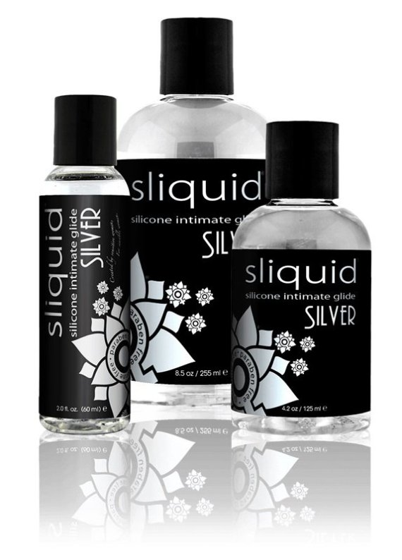 Three bottles of Sliquid Naturals Silver silicone-based lubricant sized 59, 155 and 255ml