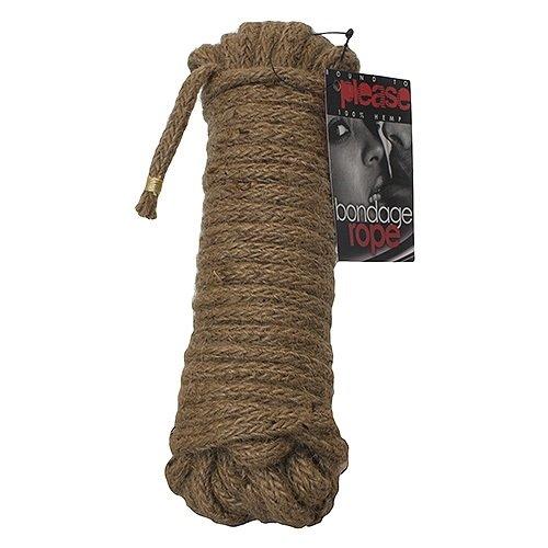 Ten metres of natural hemp bondage and shibari rope in a tight coil