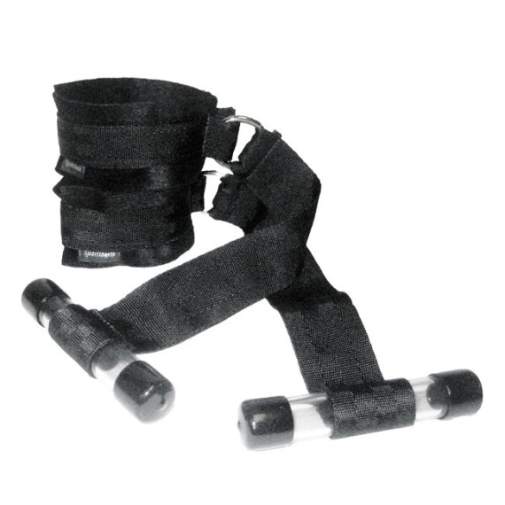 A pair of Sportsheets Over the Door cuff restraint system with two cuffs attached to a strap ending in a plastic tube