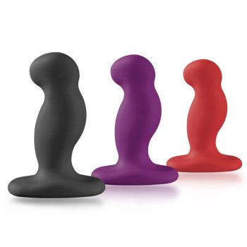 Three Nexus G Play vibrating silicone butt plugs ranging from small to large