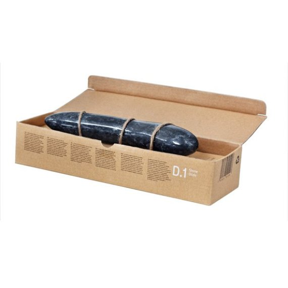 Laid D.1 Stone Dildo in its brown cardboard packaging