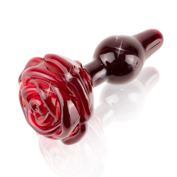 Glass butt plug with a rose shaped handle