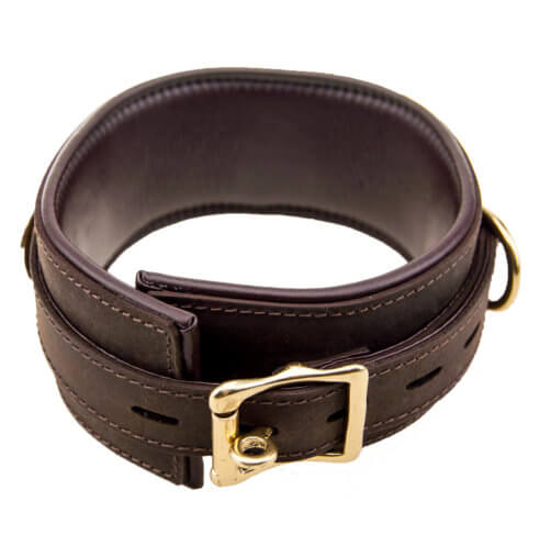 Bound Nubuck brushed brown leather BDSM Collar showing fastening buckle and interior padding