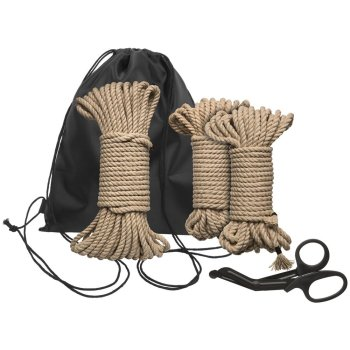 The Kink Bind and Tie Kemp Rope Kit including three lengths of hemp rope, a pair of safety scissors and a drawstring bag