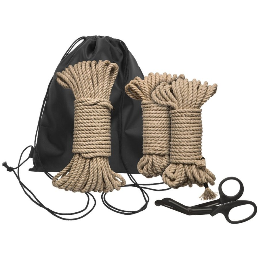 The Kink Bind and Tie Kemp Rope Kit including three lengths of hemp rope, a pair of safety scissors and a drawstring bag. Contains everything you need to get started with rope bondage restraints