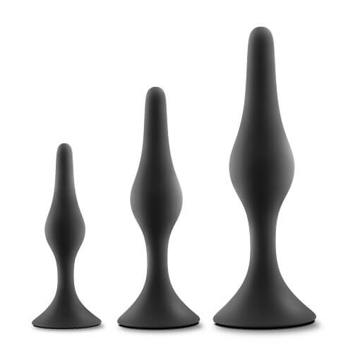 Luxe Silicone beginners butt plug kit with three tapered butt plugs