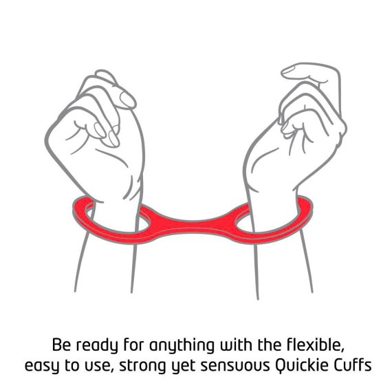 A illustrated pair of hands in a pair of quickie handcuffs with the text 'Be ready for anything with the flexible, easy to use, strong yet sensuous Quickie Cuffs'