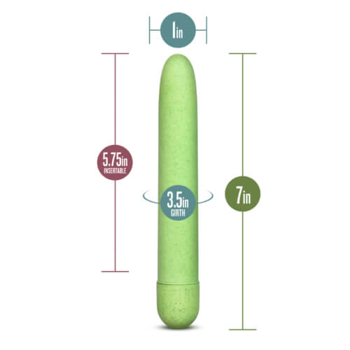 Image of the Blush Gaia Biodegradable Eco Vibrator with the dimension measurements added reading: 7 inch length, 3.5 inch circumference, 1 inch width and 5.75 inch insertable length