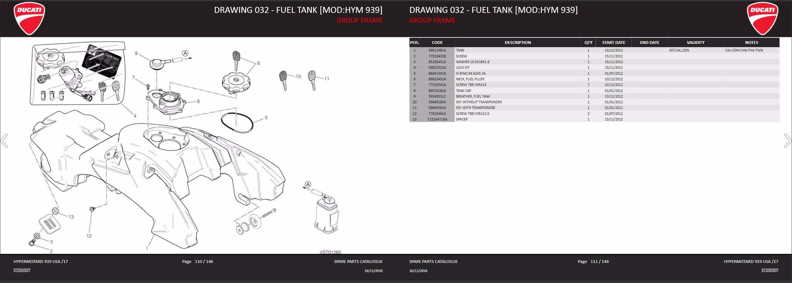 Ducati Fuel Filler oring HM HS 1100 939 796 SP 88641301A