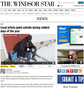Article 1st page of The Windsor Star, Friday Feb 20, 2015 Also video and blog online.