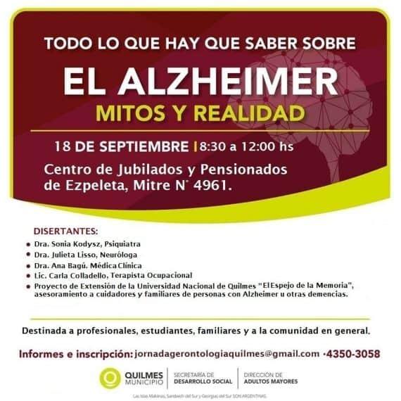 """Jornada de concientización sobre Alzheimer """"todo lo que hay que saber sobre el Alzheimer – mitos y realidad"""