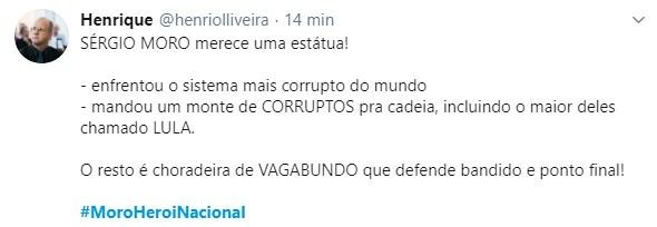 Usuários dão apoio ao ministro da Justiça, Sergio Mor