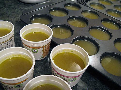 vegan bone broth in muffin tins for freezing