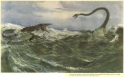 Elasmosaurus and mosasaur painting by Zdenek Burian.