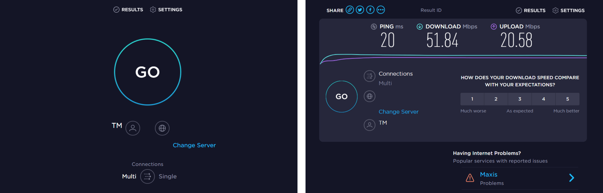 Check internet speed with Speedtest if HBO Max subtitles or closed captions not working, showing or loading