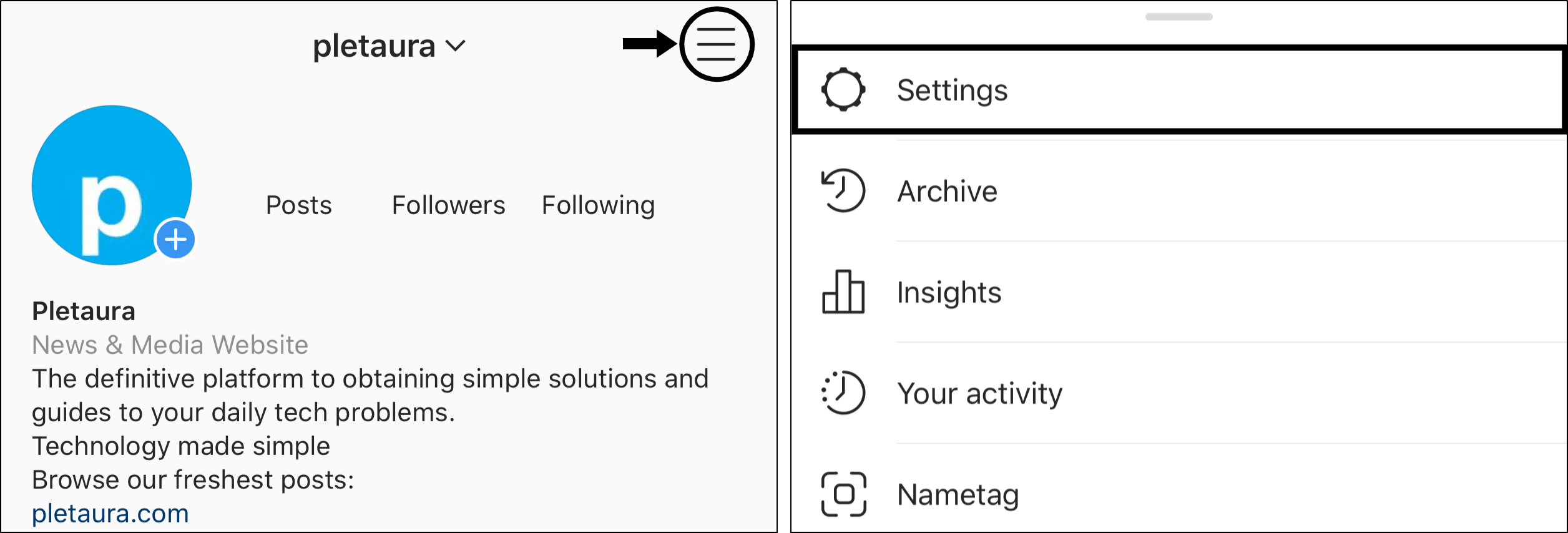 Open Instagram app settings to link facebook and instagram account and fix can't sign in or log in to Instagram