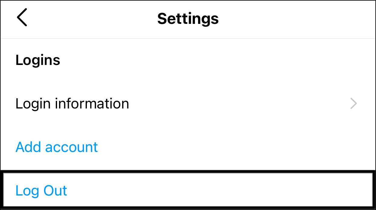 log out and log in to Instagram app to fix Instagram microphone or voice/audio message/note not working, sending or playing