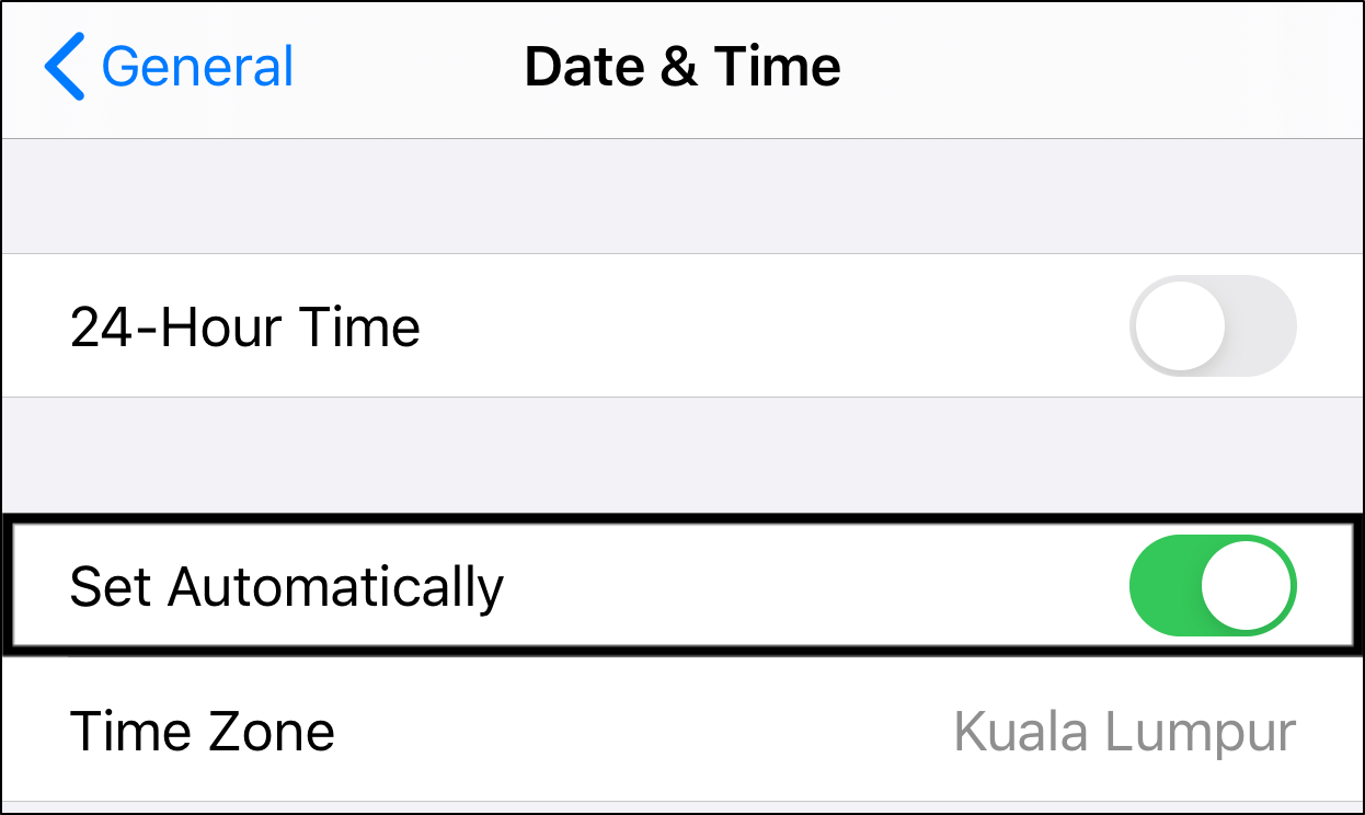 set date and time settings automatically on iPhone to fix can't log in or sign in to Instagram