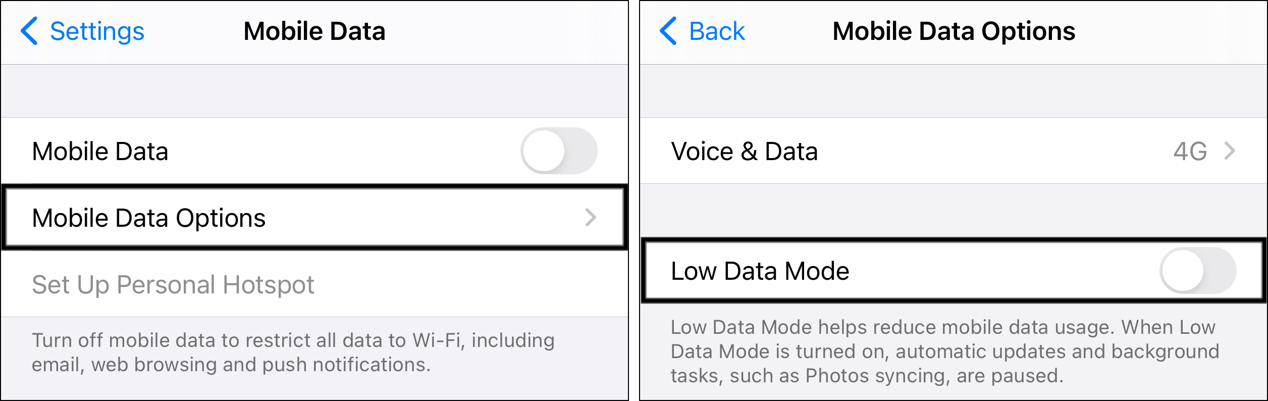 turn off low data mode on iPhone to fix Telegram notifications not working or showing
