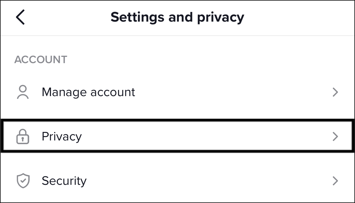 access the TikTok privacy settings to change account's privacy to publicand fix can't share TikTok videos or video sharing not working