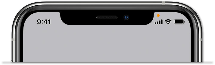 orange light on iPhone status bar to indicate microphone is in use