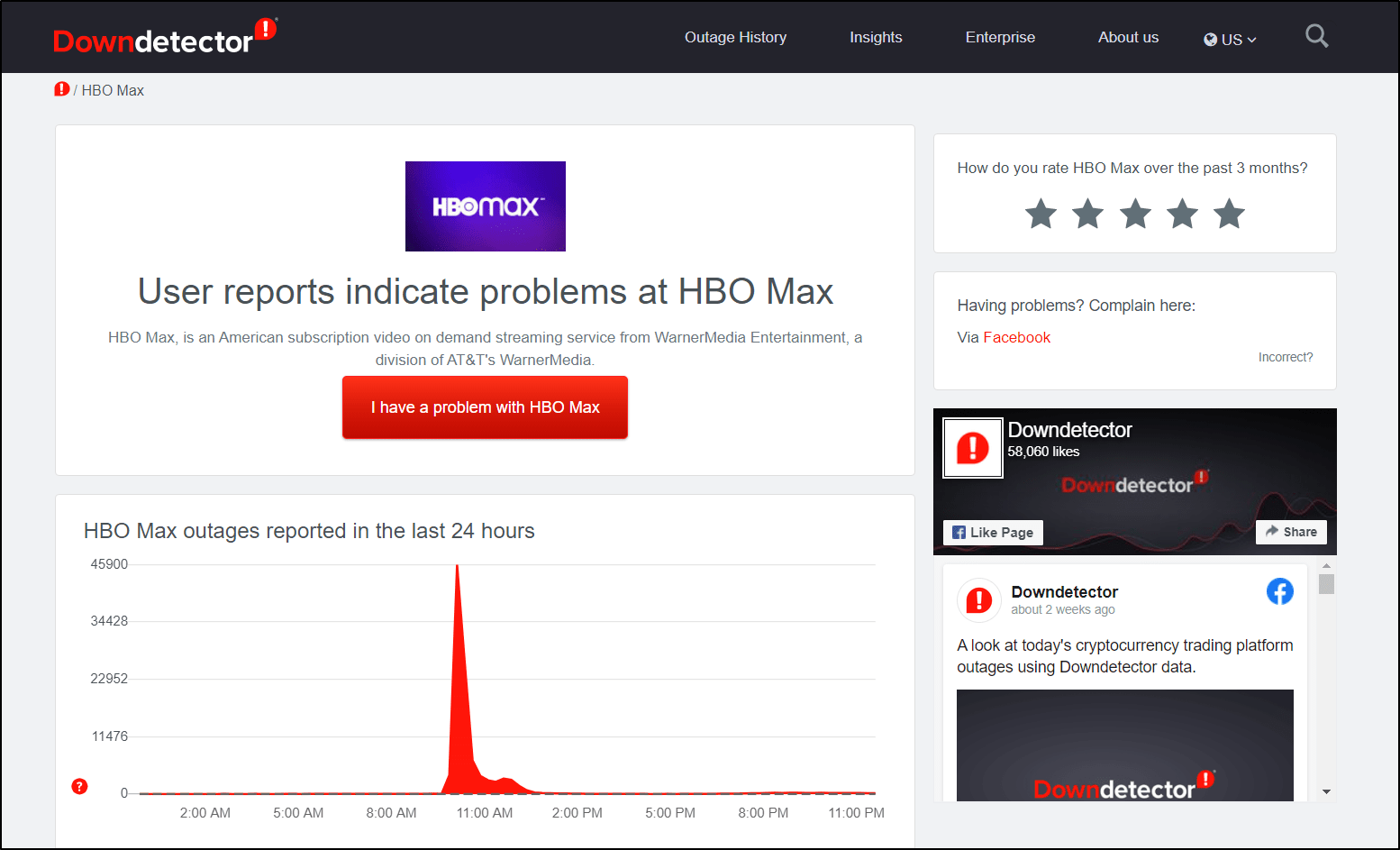 check HBO Max server status on DownDetector if HBO Max subtitles or closed captions not working, showing or loading