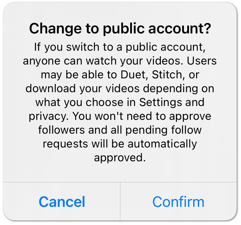 change TikTok account's privacy to publicto fix can't share TikTok videos or video sharing not working