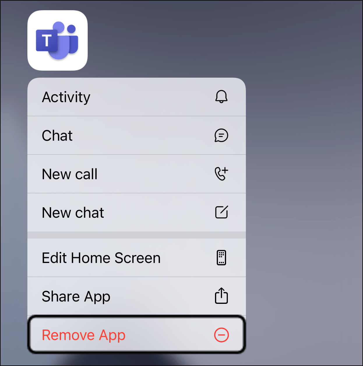 uninstall Microsoft Teams mobile app on iOS or Android to reinstall it to fix Microsoft Teams chat messages not sending, showing, loading or working