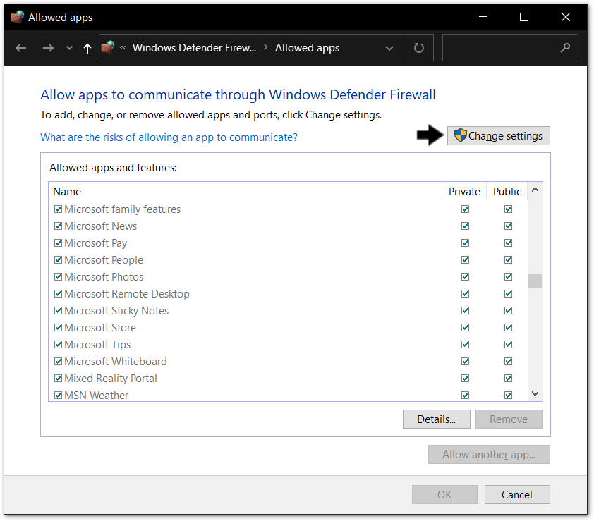 allow changes to firewall settings to allow app through firewall on Windows to fix Microsoft Teams chat messages not sending, showing, loading or working