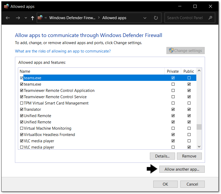 allow an app through the firewall on Windows to fix Microsoft Teams chat messages not sending, showing, loading or working